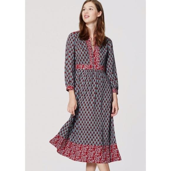 6bc1c944746 NWT LOFT blue autumn bloom midi dress
